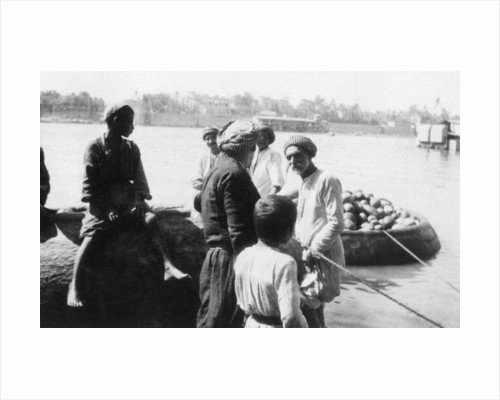 River craft laden with melons, Tigris River, Baghdad, Iraq by Anonymous