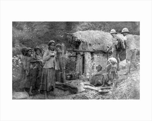 Girls and British soldiers, Chakrata hills, India by Anonymous