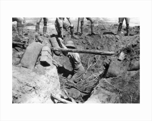 A collapsed British dugout, Mesopotamia, WWI by Anonymous