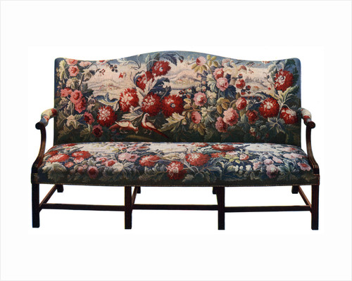 Settee, belonging to a suite of Chippendale furniture covered in an 18th-century tapestry by Anonymous