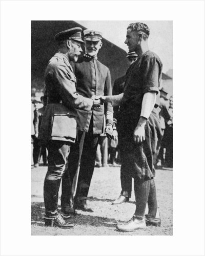 King George V receiving a American soldier who had been playing baseball, c 1910s by Anonymous