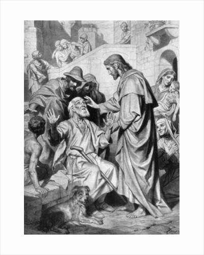Christ healing the blind by Hofmann