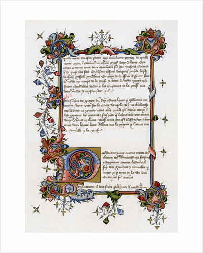 Text page with illuminated initial letter by Anonymous