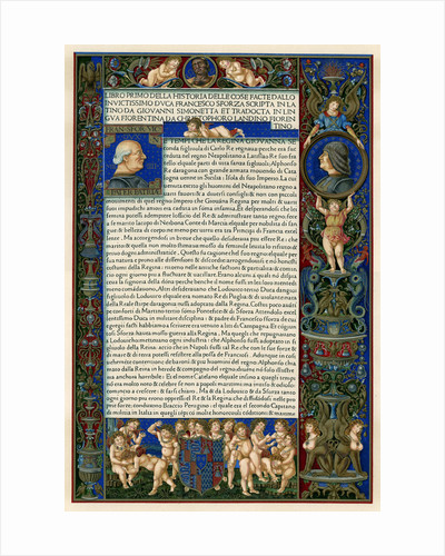 Text page with portraits of Francesco Sforza by Anonymous