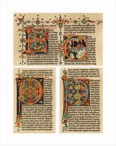 Text page with illuminated initial letters by Anonymous