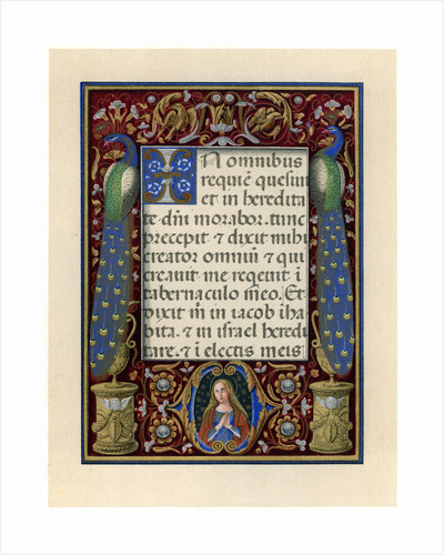 Text page with the Virgin and two peacocks by Anonymous