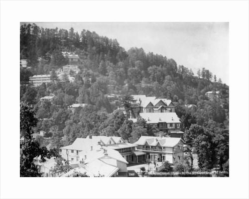 'Elysium Hotel, houses on the nothern slopes of Jakko', Shimla, India by Anonymous