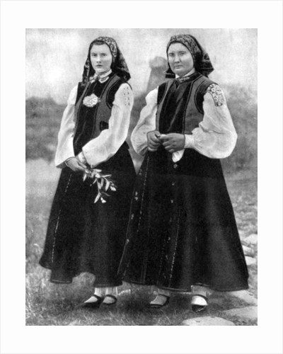 Latvian women in traditional costume by Anonymous