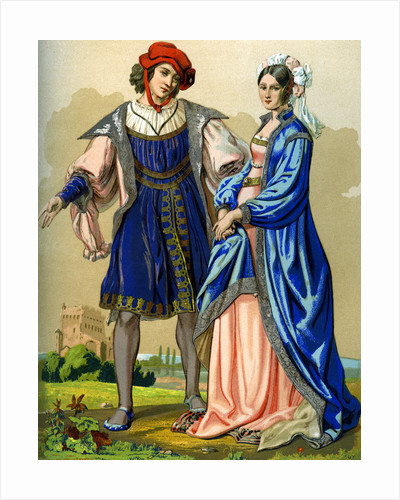 A noble French couple at the end of the 15th century by Edward May