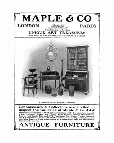 Advertisement for Maple & Co of London, sellers of antique furniture by Anonymous