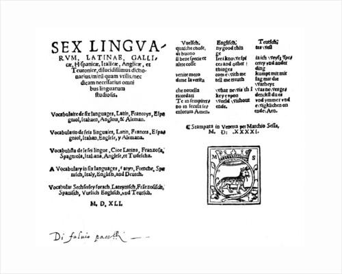 Hexaglot traveller's dictionary by Melchiorre Sessa