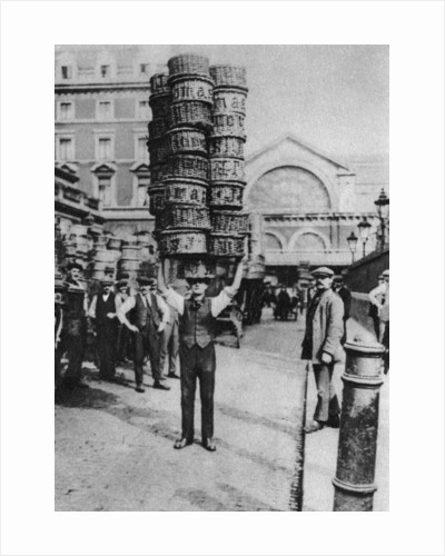 A man carrying many baskets on his head, Covent Garden, London by Anonymous