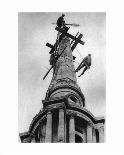 Steeplejacks on the spire of All Saints Church, Poplar, London by Anonymous