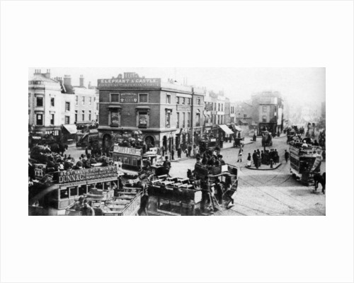 The Elephant and Castle during the time of the horse-tram, London by Anonymous