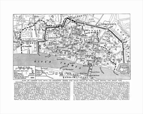 Plan of the City of London showing churches, wards and guild halls by Anonymous
