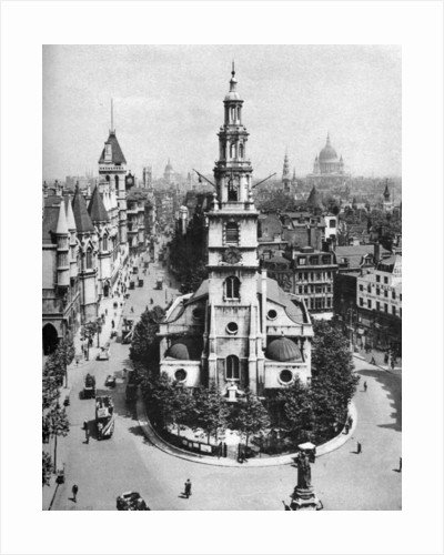 Church of St Clement Danes, the Strand and Fleet Street from Australia House, London by McLeish