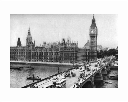 The Houses of Parliament and Westminster Bridge, London by Anonymous