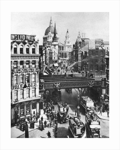The spire of St Martin, Ludgate silhouetted against the bulk of St Paul's, London by Frith