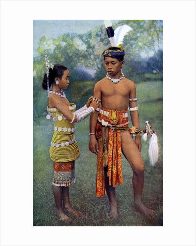Young Iban or Sea Dayaks people in gala attire, Borneo by Dr Charles Hose