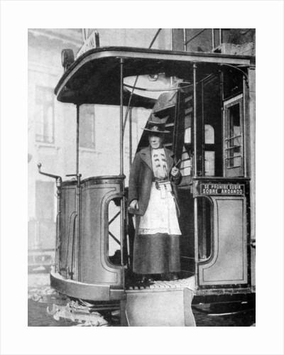 A woman tram-conductor, Chile by Brown & Dawson