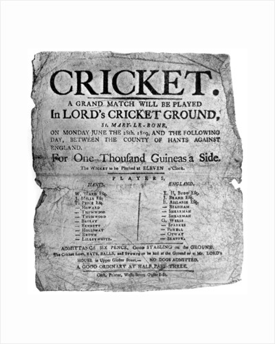 Flyer advertising a cricket match between Hampshire and England, 1819 ( by Anonymous