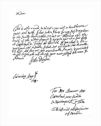 A letter written by John Dryden (1631-12700), English poet by Anonymous