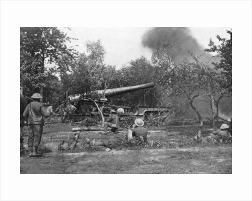 Big railway gun firing during the advance in the west, First World War by Anonymous