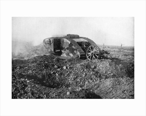 A tank in action on the Western Front, Somme, France, First World War by Anonymous