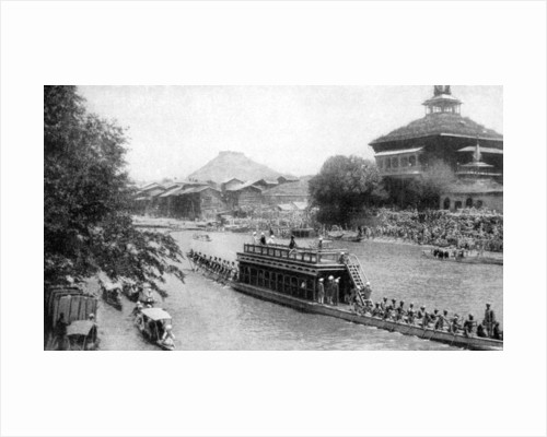 A state barge of a Maharaja, Kashmir's royal capital, India by GT Bookless
