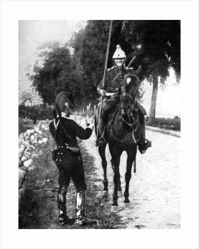 'French dragoon, delivering passport to alert Belgian picket', First World War by Anonymous