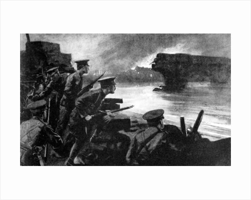 British troops on riverbank prepared for German advance, Belgium, First World War by Anonymous