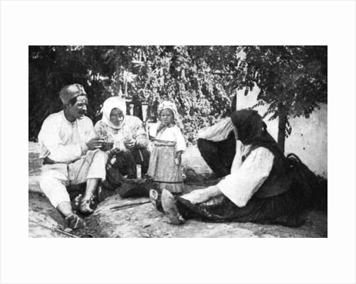 Serbian family telling the story of routing the Austrians from Bosnia, First World War by Anonymous