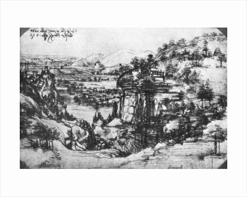 A sketch of a countryside view by Leonardo Da Vinci