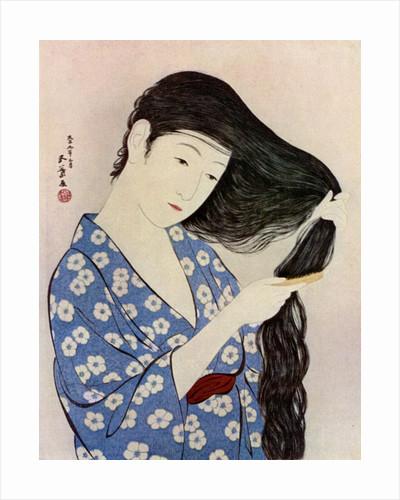 A Japanese woman combing her hair by Hashiguchi Goyo
