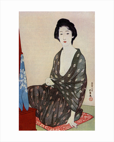 A Japanese woman wearing summer clothes by Hashiguchi Goyo