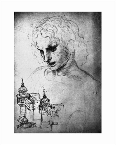 Study for the head of St James and an architectural drawing by Leonardo Da Vinci