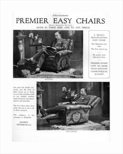 An advertisement for 'Premier' easy chairs by Anonymous