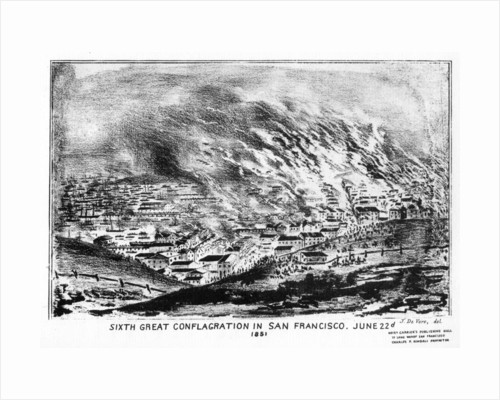 'Sixth Great Conflagration in San Francisco', Californa by J de Vere
