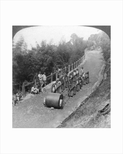 A woman work team on the Darjeeling highway, India by Underwood & Underwood