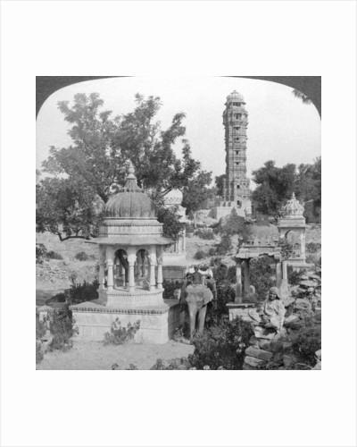 Tower of Victory amd royal cenotaphs, Chittaurgarh, India by Underwood & Underwood