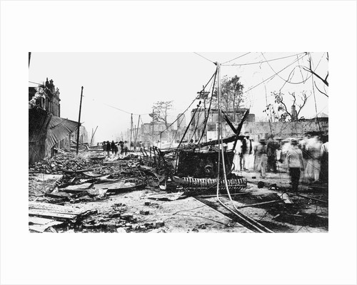 Earthquake damage and a burnt car, King Street, Kingston, Jamaica by Anonymous