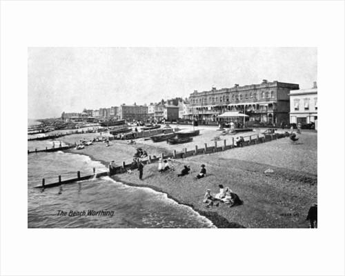 The beach at Worthing, West Sussex by Valentine & Sons
