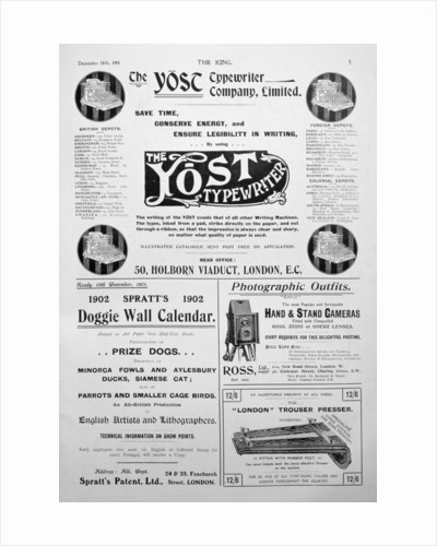 Advertising page from the King magazine by Anonymous