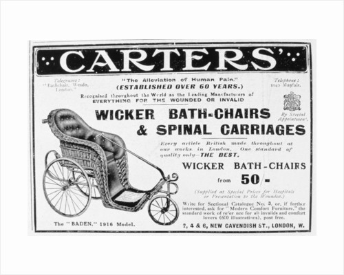 Advert for Carters' wicker bath chairs and spinal carriages by Anonymous