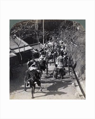 Riding to Daijingu Temple, for Shinto festival of worship of the Sun Goddess, Yokohama, Japan by Underwood & Underwood