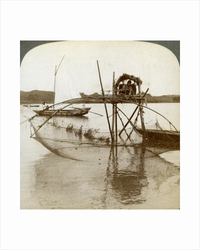 'Toiler of the sea', with his curious fishing net, bay of Matsushima, Japan by Underwood & Underwood