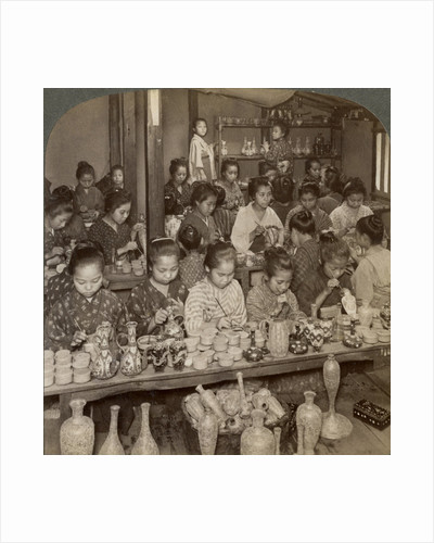 Factory girls decorating cheap pottery for the foreign markets, Kyoto, Japan by Underwood & Underwood