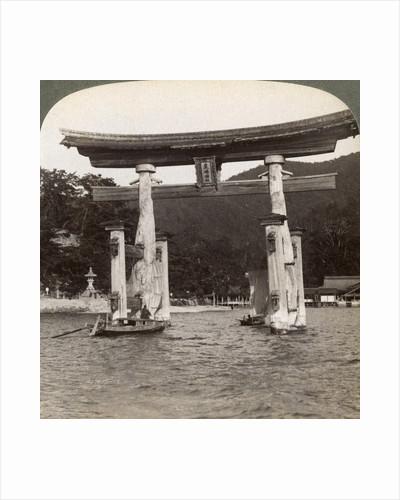 Sacred torii gate rising from the sea, Itsukushima Shrine, Miyajima Island, Japan by Underwood & Underwood
