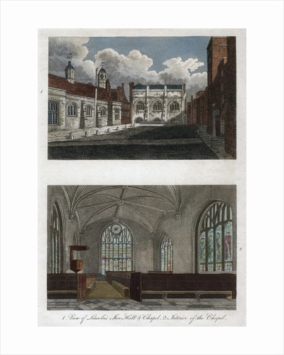 Views of Lincoln's Inn Hall and Chapel, and the interior of Lincoln's Inn Chapel, London by Pals