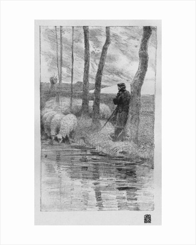 A shepherd with his flock by a river by Robert Hermann Sterl